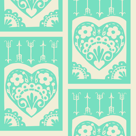 Valentine - mint fabric by rochelle_new on Spoonflower - custom fabric