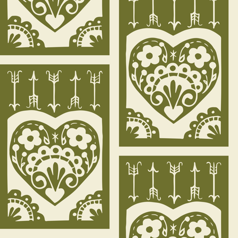 Valentine - olive fabric by rochelle_new on Spoonflower - custom fabric