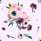 Light Pink Dark Floral Print