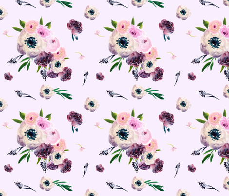 Light Pink Dark Floral Print fabric by shopcabin on Spoonflower - custom fabric