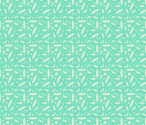 Night Messenger - mint fabric by rochelle_new on Spoonflower - custom fabric