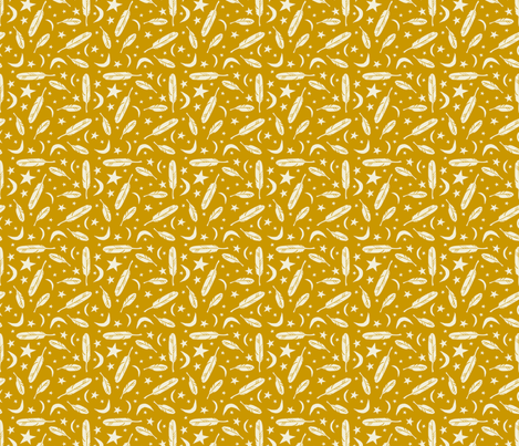 Night Messenger - mustard fabric by rochelle_new on Spoonflower - custom fabric
