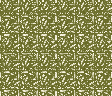 Night Messenger - olive fabric by rochelle_new on Spoonflower - custom fabric