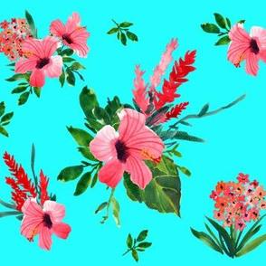Hibiscus Fabric Wallpaper Gift Wrap