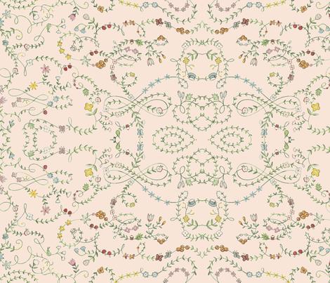 Fairy Dancers Floral Peach fabric by natalie&cheryl on Spoonflower - custom fabric