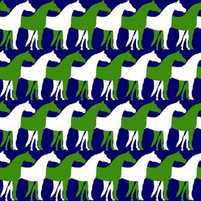 Two Inch Green and White Overlapping Horses on Navy Blue