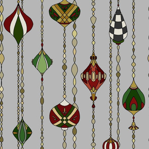 Holiday Baubles - red green