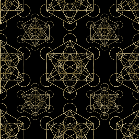 Metatron's Cube Black & Gold fabric by maverickcreatrix on Spoonflower - custom fabric
