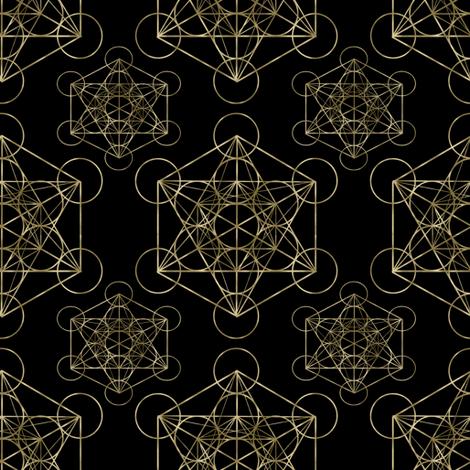 Metatron's Cube Black & Gold fabric by maverickcreatrix on Spoonflower - custom fabric