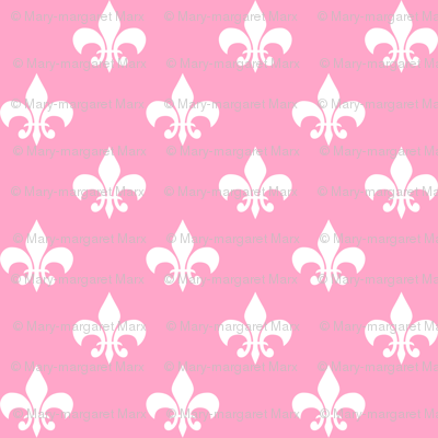 One Inch White Fleur-de-lis on Carnation Pink