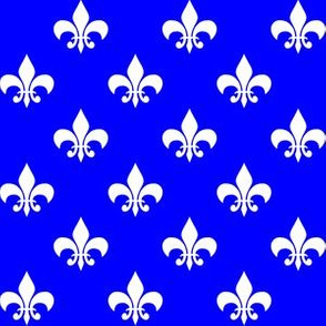 One Inch White and Blue Fleur-de-lis