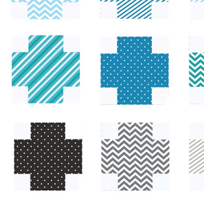 mod log cheater quilt fabric blues gray