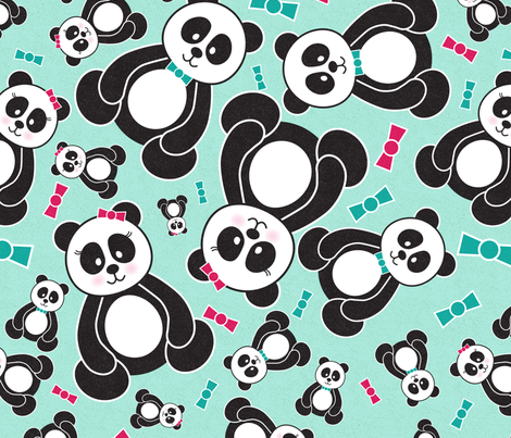 Panda Freefall in Teal fabric by noondaydesign on Spoonflower - custom fabric
