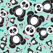 Panda Freefall in Teal