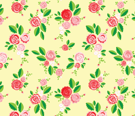 Cream Summer Rose fabric by katebillingsley on Spoonflower - custom fabric