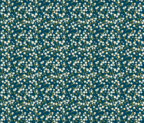 Blue Autumn Daisy fabric by katebillingsley on Spoonflower - custom fabric