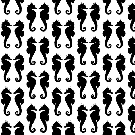 Black Seahorses on White fabric by mtothefifthpower on Spoonflower - custom fabric