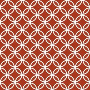 White Overlapping Circles on Chinese Red