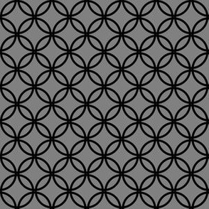 Black Overlapping Circles on Medium Gray