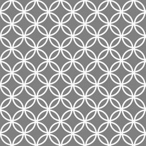 White Overlapping Circles on Medium Gray
