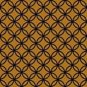Black Overlapping Circles on Matte Antique Gold