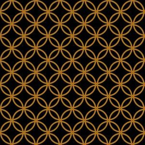 Matte Antique Gold Overlapping Circles on Black