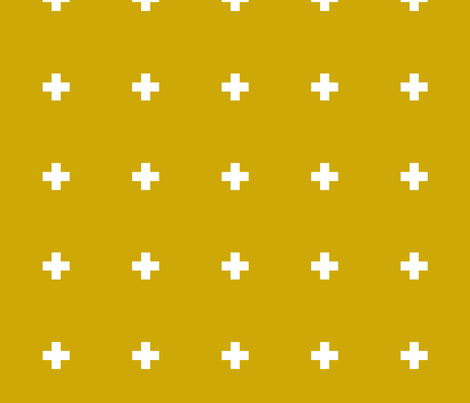Large Mustard Pluses fabric by katebillingsley on Spoonflower - custom fabric