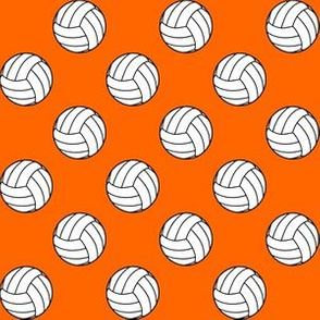 One Inch Black and White Sports Volleyball Balls on Orange