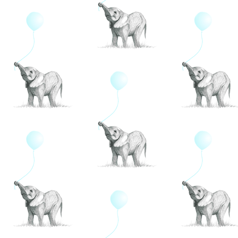 Baby Elephant with Balloon fabric by booboo_collective on Spoonflower - custom fabric