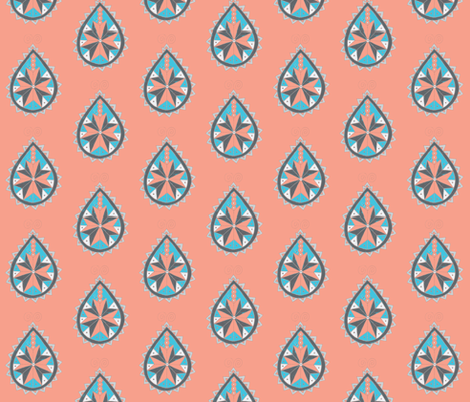 Coral southwest paisley fabric by dnbmama on Spoonflower - custom fabric