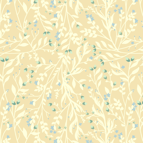Tangled in Cream Blue Green, Delicates fabric by thistleandfox on Spoonflower - custom fabric