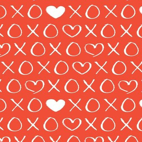 xoxo love sweet hearts and kisses print for lovers wedding and valentine in coral red