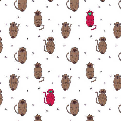 Wise red monkeys print fabric by poulin on Spoonflower - custom fabric
