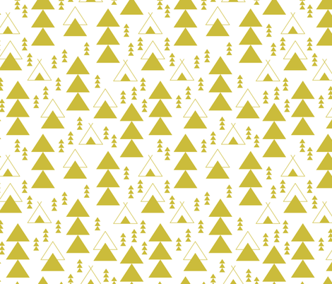 geometric teepee woodland tree abstract triangle forest in mustard gender neutral yellow fabric by littlesmilemakers on Spoonflower - custom fabric