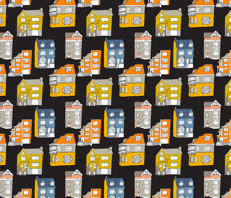 Houses black fabric by els_vlieger on Spoonflower - custom fabric