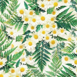 Textured Vintage Daisies and Ferns - small