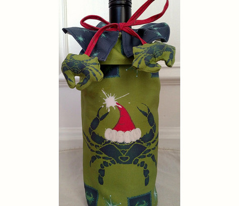 Crabby Christmas Wine Bag