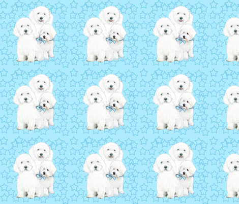 bichons_in_blue_stars fabric by dogdaze_ on Spoonflower - custom fabric
