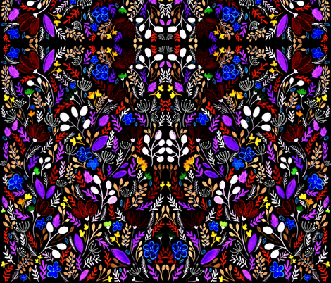 Bright Flowers on Black fabric by kitcronk on Spoonflower - custom fabric