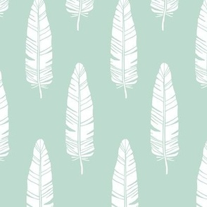 tribal_baby_feathers_white_on_mint