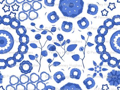 Boho Blossoms Blue and White China