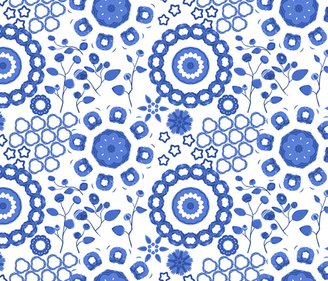 Boho Blossoms Blue and White China fabric by bloomingwyldeiris on Spoonflower - custom fabric