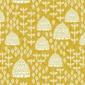 bee hives // golden yellow spring florals flower bumble bee linocut block printed textiles