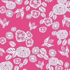 bee garden // pink block printed bee flowers floral vintage style pink fabric