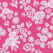 bee garden // pink block printed bee flowers floral vintage style pink fabric