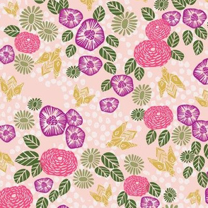 bee garden // spring florals flower printed in purples pinks and spring colors