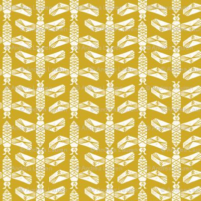 bees // golden yellow blockprinted linocut bee