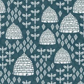 bee hives - linocut printmaking vintage style andrea lauren fabric print