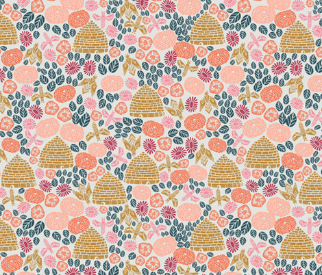 bee garden - florals bee hive stamp linocut spring bees flowers fabric by andrea_lauren on Spoonflower - custom fabric