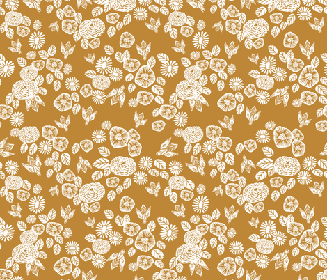 bee garden - spring flowers florals mustard yellow vintage style flowers fabric by andrea_lauren on Spoonflower - custom fabric